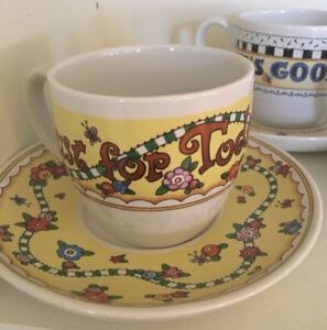 RARE FIND • Mary Engelbreit Tea Cup & Saucer Collection (12 full sets) UNUSED!