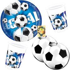 Fußball Football Goal Partyset 60tlg für 20 Kinder Teller Becher runde Serviette