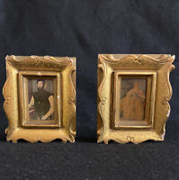 Pair of Late 1800s Lithographs in Gold Gilt Plaster and Wood Frames