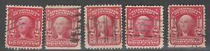 "USA Scott #  319  2¢ Washington  ""Shield"" Used Lot of 5 stamps (319-5)"