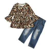Boutique Toddler Kids Baby Girl Leopard Top Dress Jeans Pants Outfit Clothes