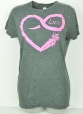 See Trough Grey Pink Love Heart Feather XLarge Crew Neck Ladies Tshirt Cotton
