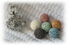 Small Swirl Essential Oil Aromatherapy Diffuser Necklace with 6 lava stones!