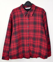 Riders by LEE Women's 100% Cotton Shirt Red Black Checked XL Fleece Lined Top