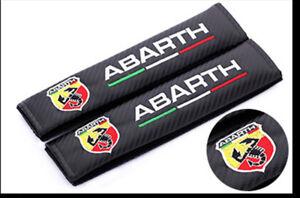 2Pcs Carbon Fiber Car Seat Belt Cover Safety Shoulder Pads for Abarth Fiat