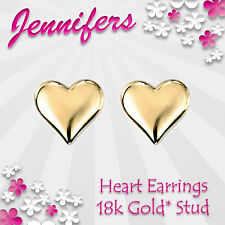 NEW Gold Heart Earrings Stud 18k Valentines Love Genuine Studs Earring Jewel
