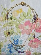 "vintage fresh water pearls baroque necklace-18"" long 2 strand-blue/gold tone"