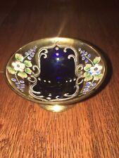 VINTAGE ANTIQUE Cobalt Blue Gold Bohemian Dish Delicate Hand Painted Flowers