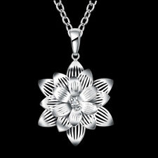 Alloy Pendant Choker Sweater Necklace Women Lotus Flower White Gold Plated