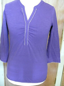 Boden 3/4 sleeve textured notch neck top in purple, green or white
