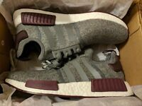 adidas NMD R1 Grey Wool/Maroon Burgundy CQ0761 Exclusive RARE All NEW