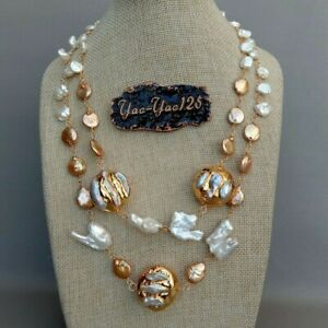 LUXURY 20'' Cultured Fashion Keshi Pearl Yellow Golden Plated Pearl Necklace