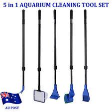 5 in 1 Long Aquarium Fish Tank Cleaner Fish Net+ Rake+ Scraper+ Fork+ Sponge MN