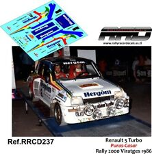 DECAL/CALCA 1/43; Renault 5 Turbo; Puras-Casar; Rally 2000 Viratges 1986