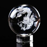 Laser Engraved Clear Glass Fengshui Crystal Dragon Ball Paperweight Home Decor
