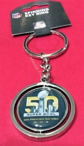 SUPER BOWL 50 NFL 2016 PANTHERS & BRONCOS HEAD TO HEAD SPINNING KEYCHAIN