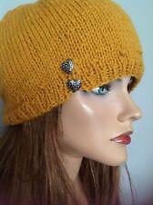 Beanie Slouch Wool Hand Knit Silver Hearts Tassel Designer Fashion Hip Chic