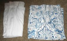 TAHARI HOME IMPERIAL BLUE WHITE & GRAY FABRIC SHOWER CURTAIN & WHITE LINER