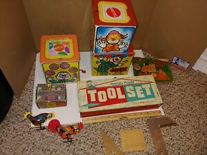 5 Vintage Tin Toys,2 Mattel Jack In The Box w/Box,Handy Andy,Pecking Rooster