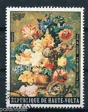 HAUTE-VOLTA, 1975, timbre 341, TABLEAU VAN BRUSSEL, FLEURS, BOUQUET, oblitéré