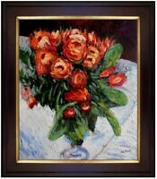 Framed, Pierre Renoir Roses Repro, Hand Painted Oil Painting 20x24in