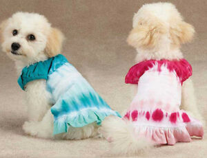 East Side Collection Tie Dye Dog Cover Up Dress Pink Blue Pet Dress Puppy