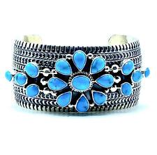 Navajo Sterling Silver Bracelet Sleeping Beauty Turquoise Handmade-Jane Delgarit