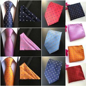 Men Classic Polka Dots Tie Jacquard Woven Necktie Pocket Square Handkerchief Set