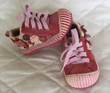 CATIMINI Pink/ Cream Leather Shoes With Flowers size 20 Cute!!!! Vintage Style