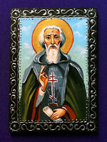 HAND PAINTED signed original painting icon Saint Sergius of Radonezh double ACEO