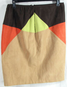 VENEZIA JEANS Orange Brown Green Suede Knee Skirt - Size 14/16