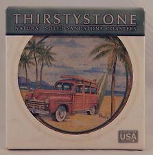 Thirstystone Natural Sandstone Coasters Woody Wagon Car Beach Surfer Set of 4