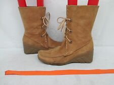 NINE WEST Tan Suede Leather Lace Moc Toe Ankle Boots Size 8.5 M Style TENEALE