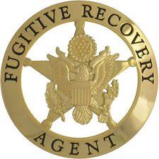 435 Novelty Marshal Style Fugitive Recovery Agent Badge Gold Finish
