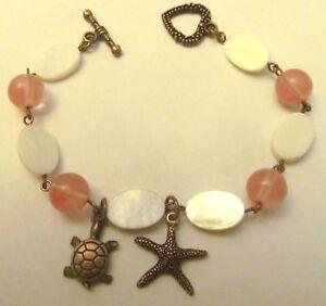 Copper Starfish Mother Of Pearl Bracelet, Seashell Bracelet, Beach Bracelet