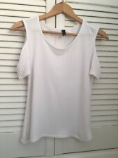 Bright White Textured Sripe Cut Out Shoulder H&M Tight Fit Top Size S