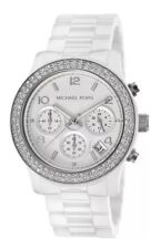 Michael Kors New MK5188 Runway White Dial Ceramic Glitz Ladies Wrist Watch