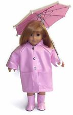 """Pink Rain Coat, Boots, & Umbrella made for 18"""" American Girl Doll Clothes"""