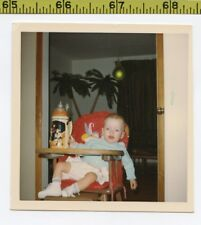 Vintage 1960's photo / Alcoholic Baby in Highchair Finished German Stein of Beer