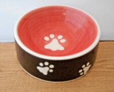 Ceramic Pet Paw Print Dog Dish Melon Pink Black White 2 Cup  C29