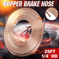 25Ft Foot 1/4 OD Steel Zinc Copper Nickle Brake Line Tubing Pipe Kit Roll Coil
