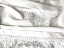Antique / Vintage Hand Embroidered Crochet White Linen Bed Cover 89x84 Inches