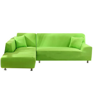 Solid Stretch Corner Chair L Shape Sofa Covers Couch Cover Elastic Slipcover