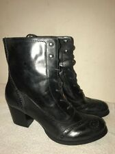 Women Nine West Vintage America Collection BK Leather Lace Up Ankle Boots Sz 10