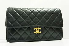 VINTAGE CHANEL Black Lambskin Leather Classic Single Flap 2.55 Clutch Purse A159