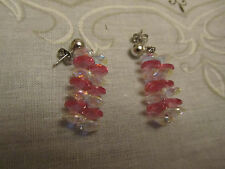 """Silver Tone Pink & Clear Faceted Glass Drop Earrings - 1.5"""" long"""