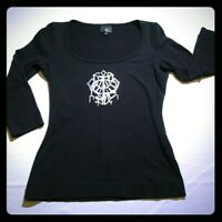 Just Cavalli Hunting Love Black 3/4  sleeve top Shirt