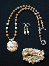 Yellow Mookaite with White Tridacna Gemstone Pendant Necklace Set - Bracelet