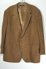 VTG Brooks Brothers Mens Plaid Blazer Sport Coat Jacket Tan 48R 100% Camel Hair