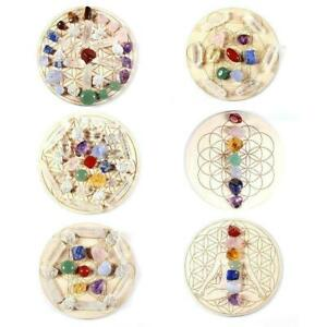 Natural Chakra Crystal Healing Stones+Star Array Wood Energy Plate G4S6